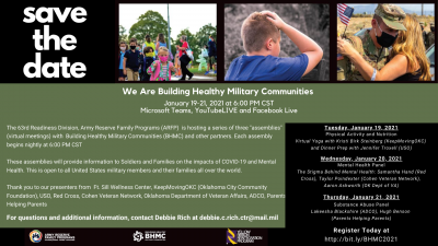 We are Building Healthy Military Communities FREE Virtual Event (Military Families ONLY)