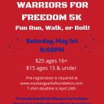 Warrior Weekend 5K, Fun Run, Walk, or Roll!
