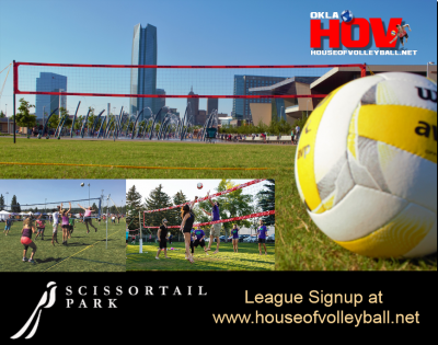OKC Outdoor Volleyball Leagues at Scissortail Park...